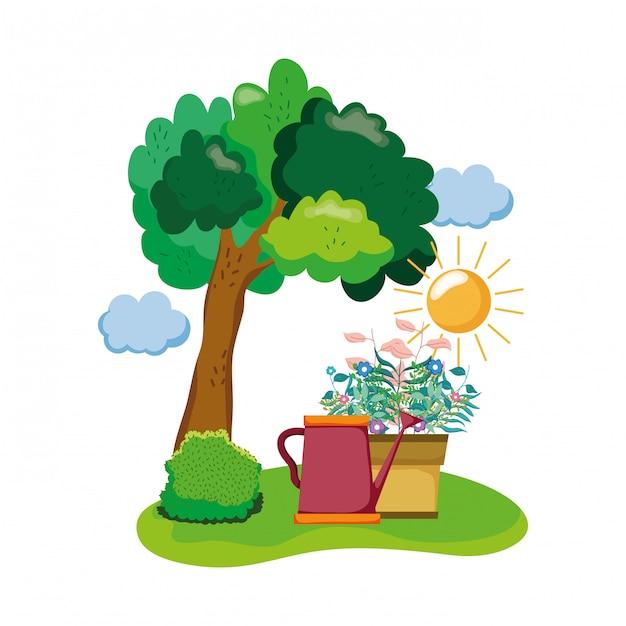 Sprinkler bonito de jardim com planta de casa no campo Vetor Premium
