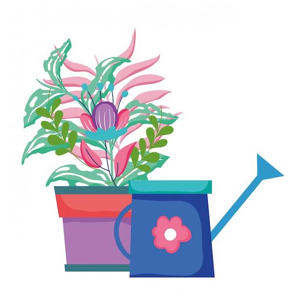 Sprinkler bonito de jardim com planta de casa Vetor Premium