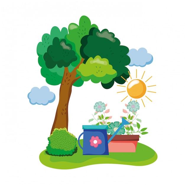 Sprinkler de jardim com planta de casa no campo Vetor Premium