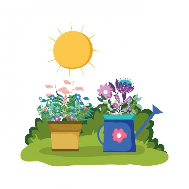 Sprinkler de jardim com planta de casa no parque Vetor Premium
