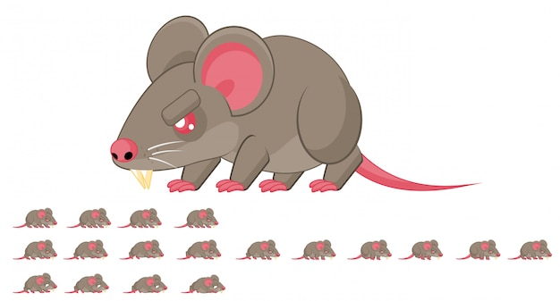 Sprite de jogo de rato Vetor Premium