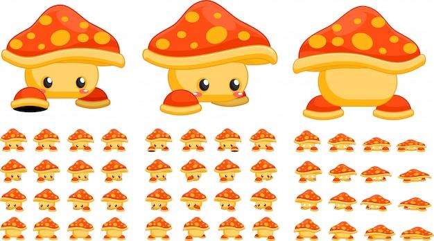 Sprites de cogumelo laranja jogo Vetor Premium