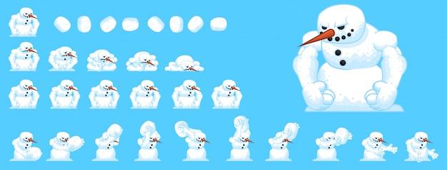Sprites de jogo de boneco de neve Vetor Premium