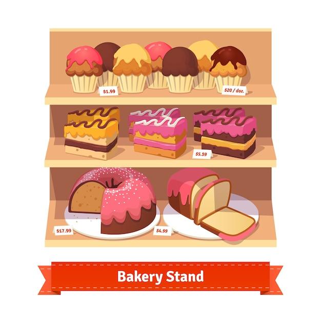 Stand de padaria com sobremesas doces Vetor grátis