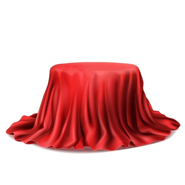 Stand realista coberto com pano de seda vermelho, isolado no fundo branco. Vetor grátis