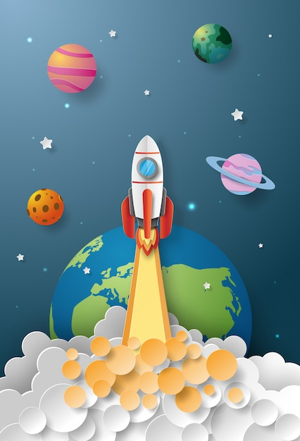 Start-up business conceito, lançamento de foguete para o espaço Vetor Premium