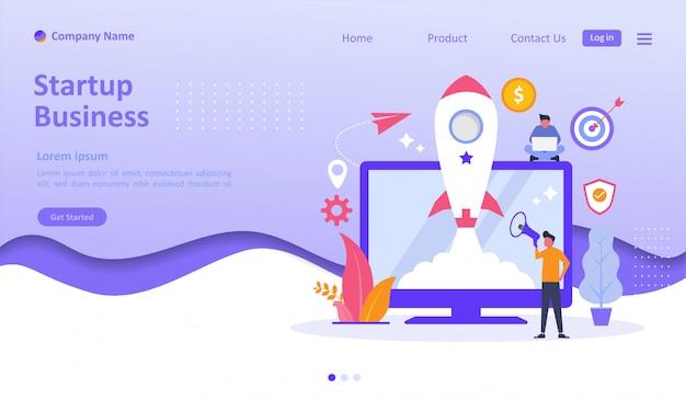 Start up business landing page Vetor Premium