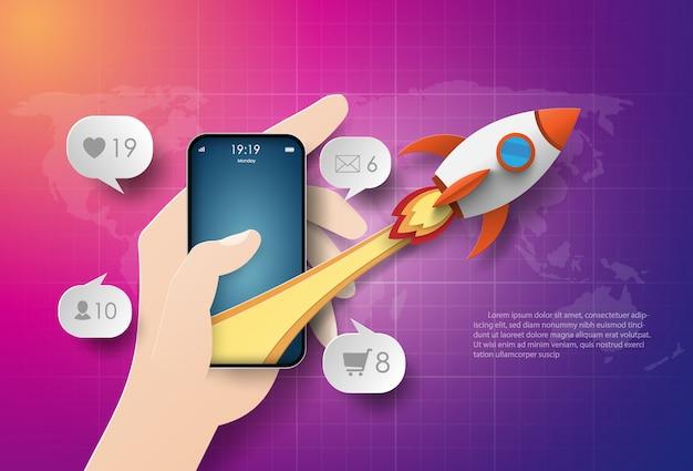 Start-up business, usando o smartphone para negócios, trabalho e marketing Vetor Premium