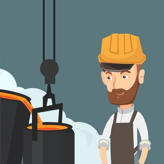 Steelworker no capacete de segurança no trabalho na fundição. Vetor Premium