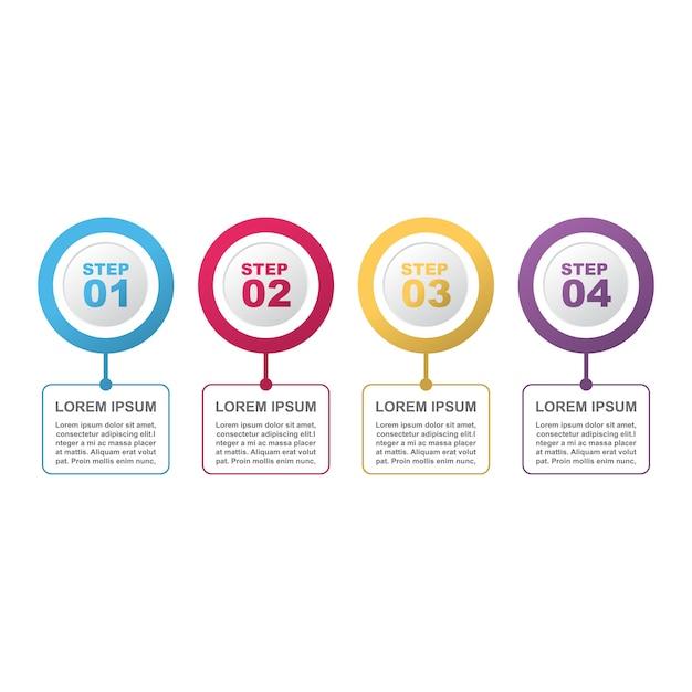 Steps process modern marketing modelo de infográfico de negócios Vetor Premium