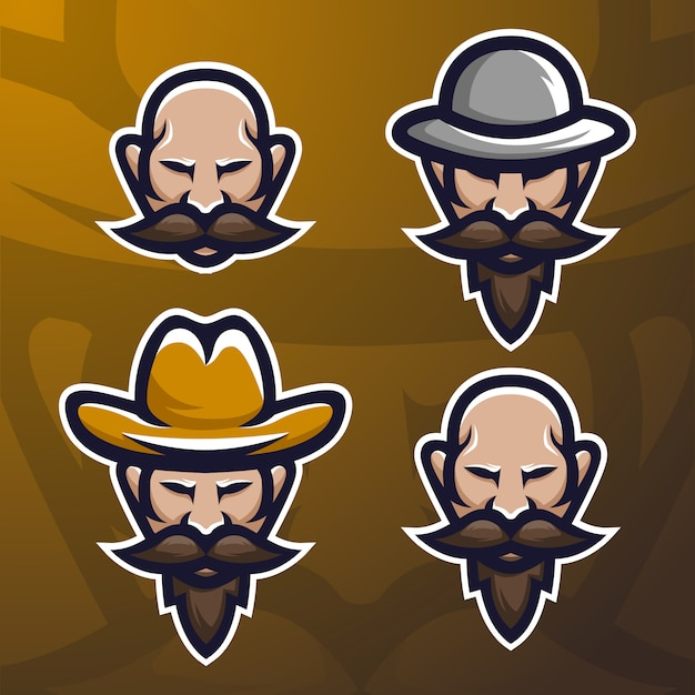 Stock vector velho barba homem mascote logotipo conjunto. Vetor Premium