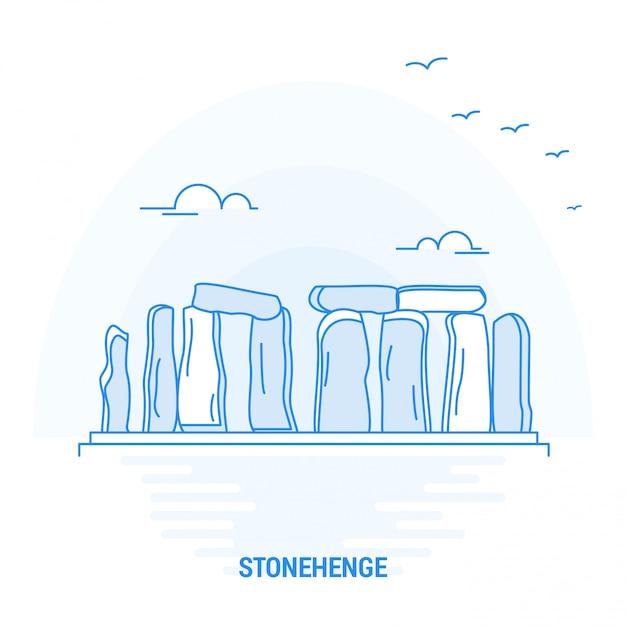 Stonehenge blue landmark Vetor Premium
