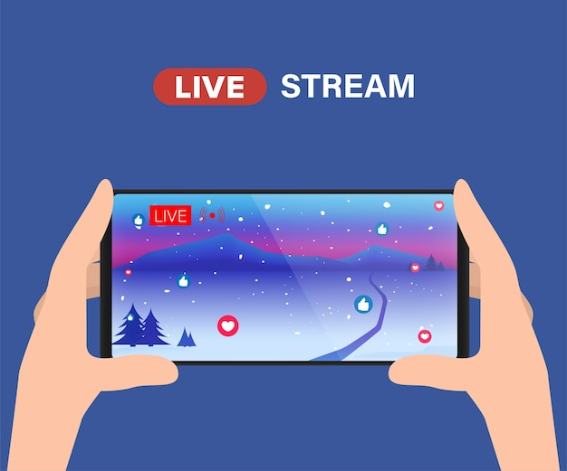 Streaming de vídeo ao vivo na mídia social. Vetor Premium