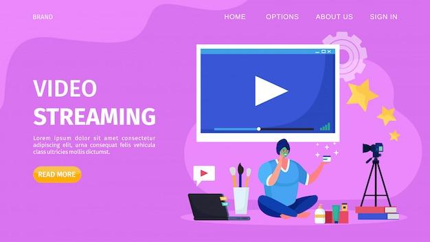 Streaming de vídeo on-line de beleza, ilustração. tutorial de registro de personagem feminina do blogueiro da internet para a página da web do canal. Vetor Premium