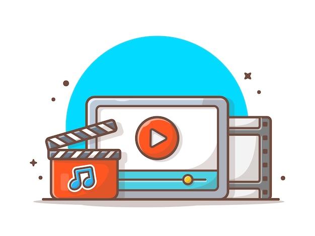 Streaming de videoclipe com o botão play e a nota da música. onilne  streaming branco isolado | Vetor Premium