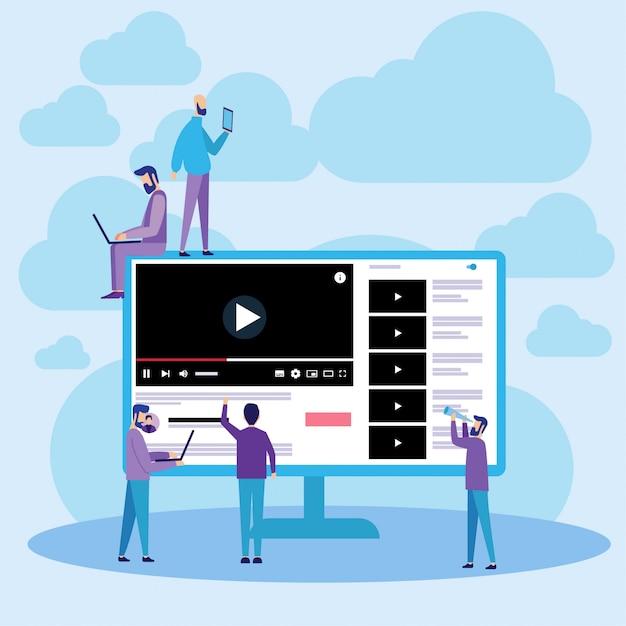 Streaming de vídeos on-line do youtube na web Vetor Premium