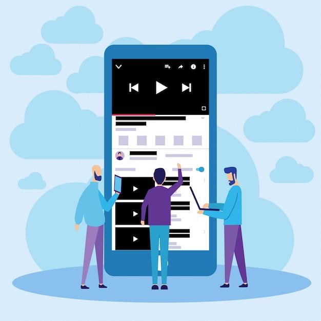 Streaming de vídeos on-line do youtube para celular Vetor Premium