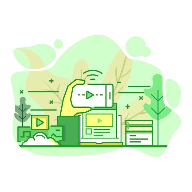 Streaming platform modern flat green color illustration Vetor Premium