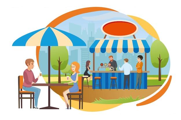 Street bar ou fast food cafe em vector city park Vetor Premium