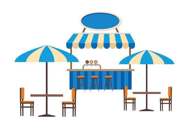 Street cafe ou restaurante ao ar livre vector plana Vetor Premium