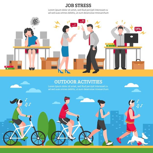 Stress e banners de relaxamento Vetor grátis