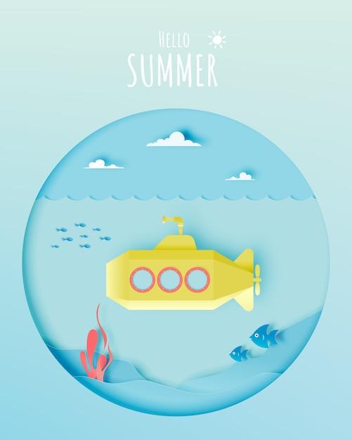 Submarino, submarino, com, muitos, peixe, em, pastel, esquema, e, papel, arte, estilo, vetorial, ilustração Vetor Premium