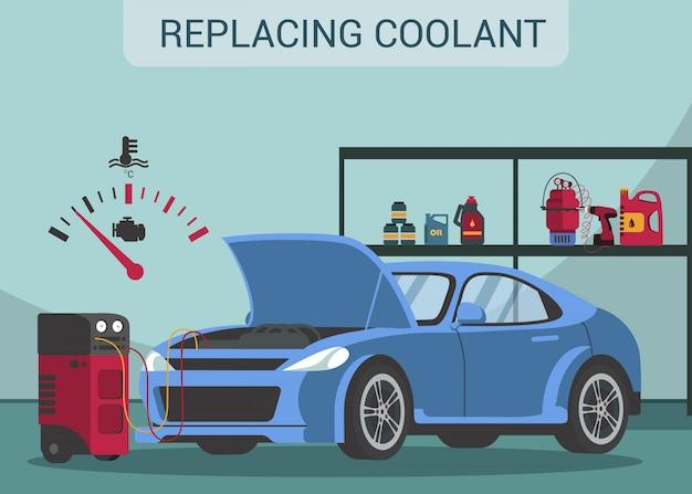 Substituindo líquido refrigerante. mudança de óleo. estação de serviço. serviço automotivo. abra o capô. Vetor Premium