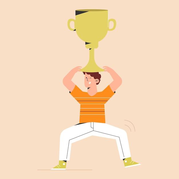 Sucesso com troféu Vetor Premium