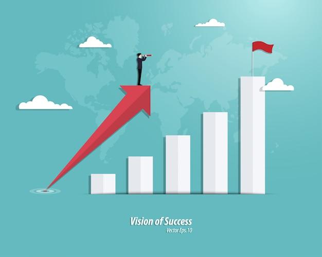 Sucesso nos gráficos de negócios Vetor Premium