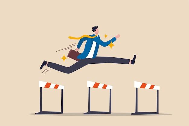 Sucesso para vencer na competição empresarial, superar obstáculos ou motivação para resolver o problema e liderar o conceito de realização da empresa, o líder do empresário confiante pula alto sobre 3 obstáculos para ser o vencedor. Vetor Premium