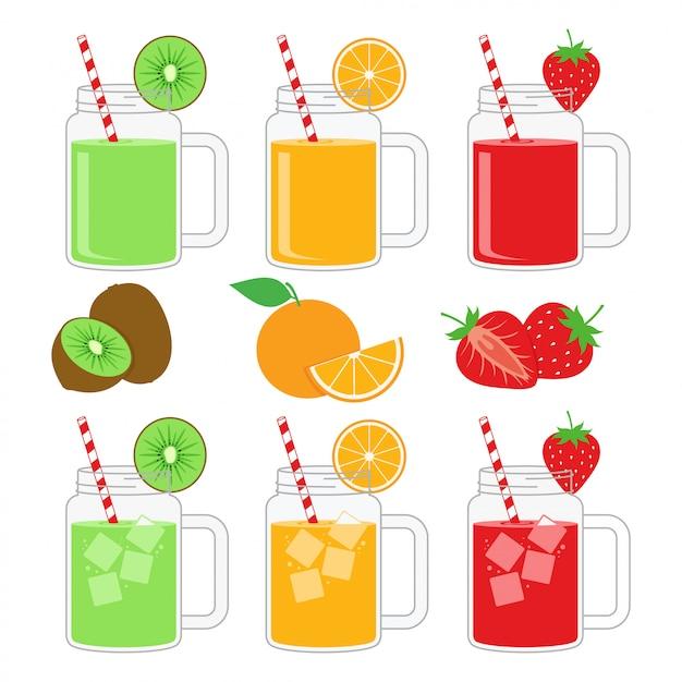 Suco de fruta na jarra caneca design vector set Vetor Premium