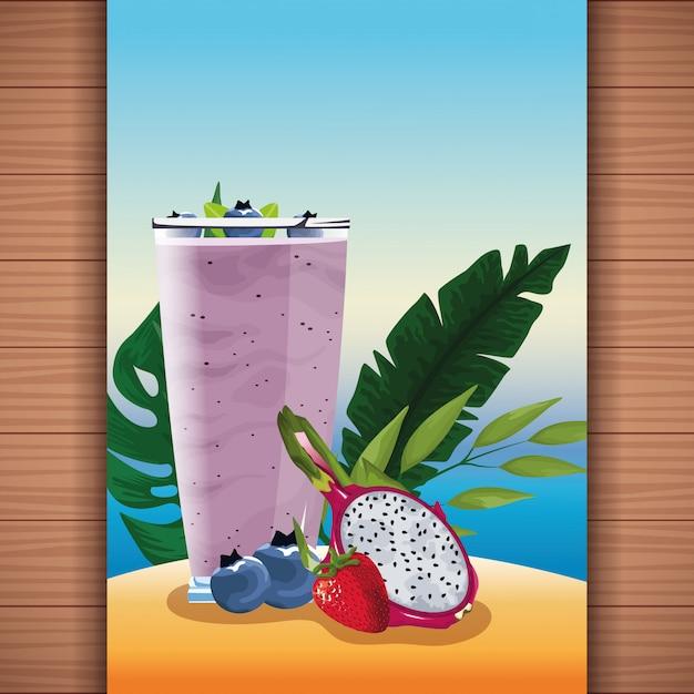 Suco de frutas de refresco tropical de verão Vetor grátis