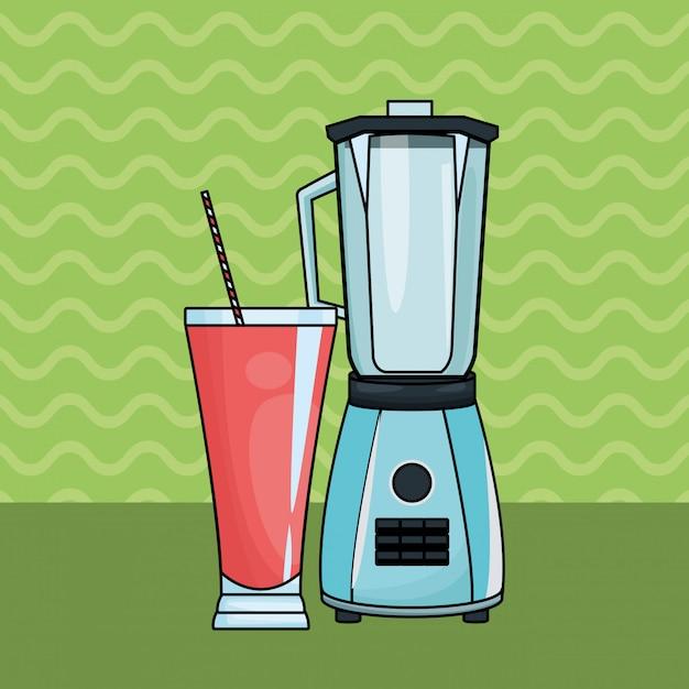 Suco de frutas refrescante e liquidificador Vetor grátis