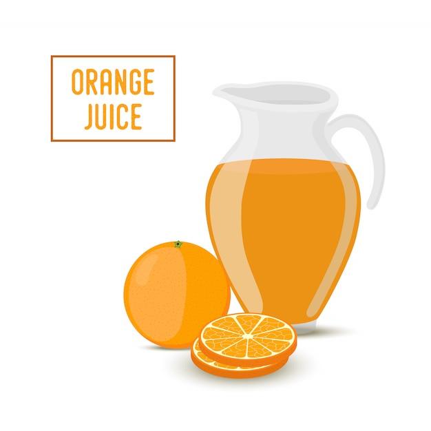 Suco de laranja em frasco de vidro transparente e laranja Vetor Premium