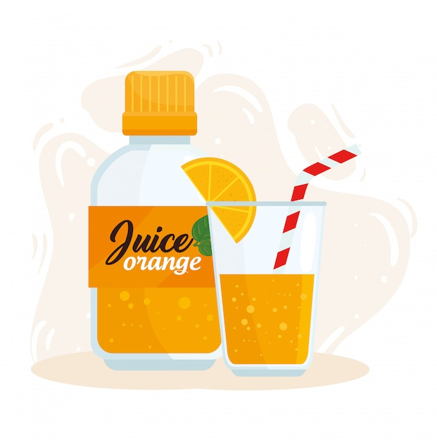 Suco de laranja em garrafa e copo Vetor Premium
