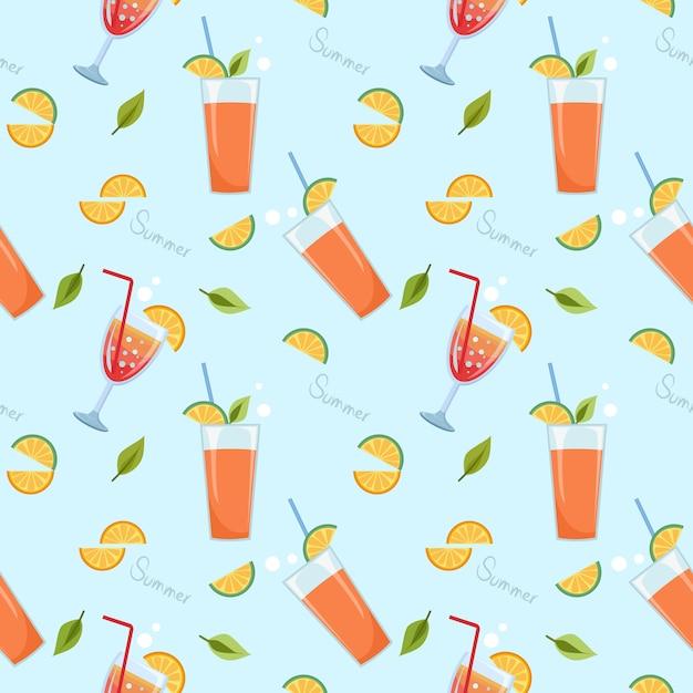 Suco de laranja no vidro no azul padrão sem emenda. horários de verão. Vetor Premium