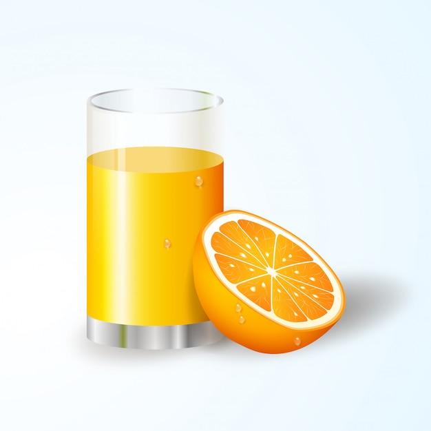 Suco de laranja realista e fatias de laranja Vetor Premium