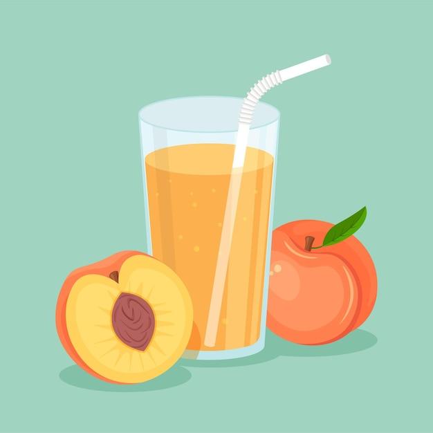 Suco de pêssego natural em um copo. suco de fruta fresco espremido com uma fatia cortada e canudo. alimentos orgânicos saudáveis em estilo apartamento moderno isolado. Vetor Premium