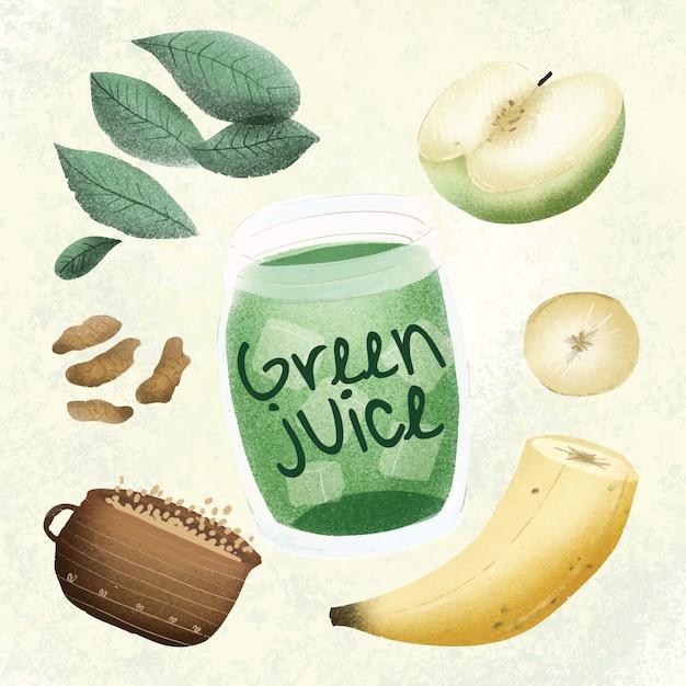 Suco verde - mão desenhada Vetor Premium