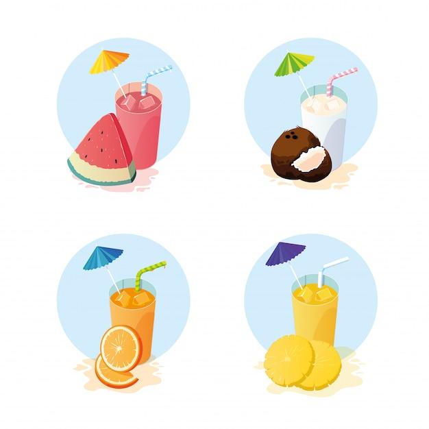 Sucos com conjunto de ícones de frutas Vetor Premium