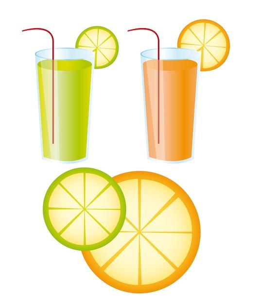 Sucos de laranja e limão sobre o vetor de fundo branco Vetor Premium