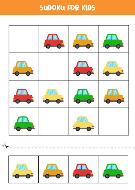 Sudoku para crianças em idade pré-escolar. jogo lógico com carros de desenhos animados coloridos. Vetor Premium