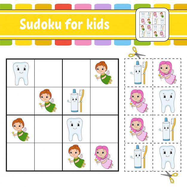 Sudoku para crianças. Vetor Premium