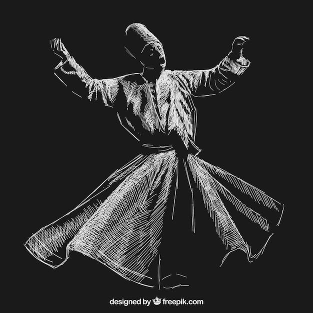 Sufi dança rodopiante Vetor grátis