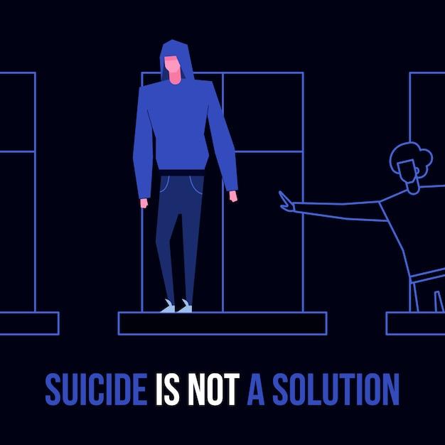 Suicídio mental doença desordem prevenção conceito Vetor Premium