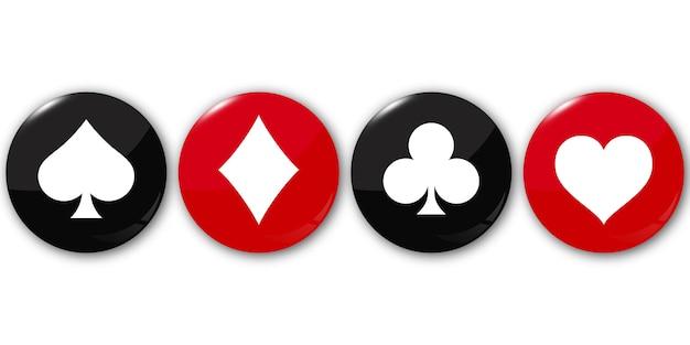 Suit baralho de cartas nos botões redondos. Vetor Premium