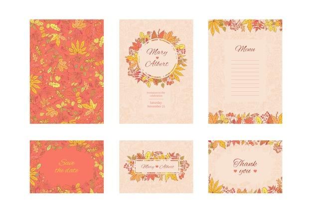 Suíte cartão de convite de casamento. conjunto de cartões de moldura com folhas de outono e grãos. conceito de design decorativo de coleção em cores pastel e brilhantes. convide para um aniversário ou aniversário. Vetor Premium