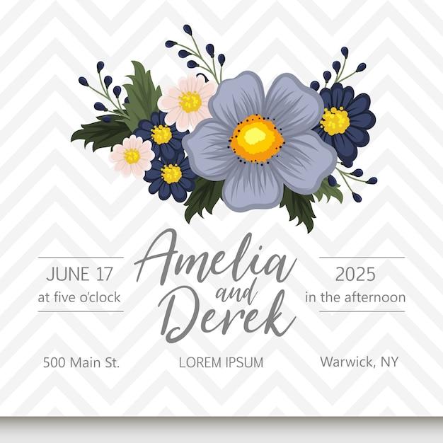 Suite de cartão de convite de casamento com flores. modelo. ilustração vetorial Vetor grátis