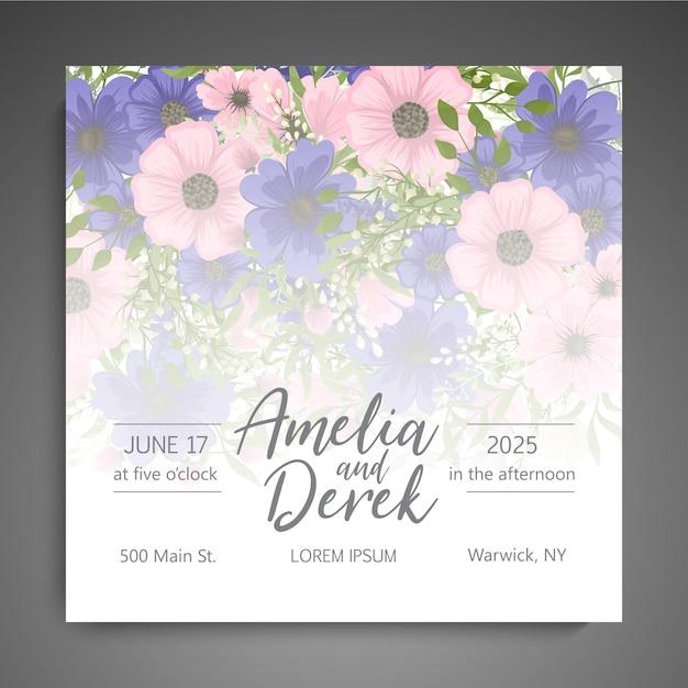 Suite de cartão de convite de casamento com modelo de flor Vetor grátis