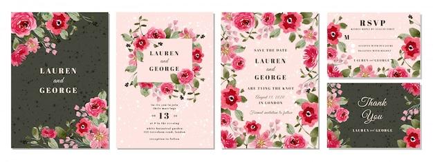 Suite de convite de casamento com fundo aquarela flor rosa Vetor Premium